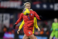 COLUMBUS, OH - NOVEMBER 07: Lindsey Horan #9of the United States moves to the ball during a game between Sweden and USWNT at MAPFRE Stadium on November 07, 2019 in Columbus, Ohio.