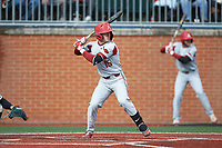 Casey Martin (15) of the Arkansas Razorbacks at bat against the Charlotte 49ers at Hayes Stadium on March 21, 2018 in Charlotte, North Carolina.  The 49ers defeated the Razorbacks 6-3.  (Brian Westerholt/Four Seam Images)