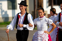 traditional dancers in local german Svab traditional  dress - Annual wine harvest festival ( szuret fesztival ) . Hajos ( Hajós); Hungary