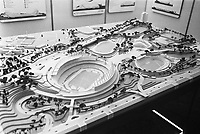 International Olympic Committee meets in RAI, Amsterdam the 1976  Olympic Games location. In photo ; Model of Montreal proposed olympic stadium and village.<br /> Date May 11, 1970<br /> <br /> Photographer Koch, Eric / Anefo