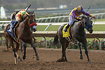 """DEL MAR, CA  JULY 28: #3 Secret Spice, ridden by Flavien Prat, and #4 Ollie's Candy, ridden by Kent Desormeaux, battle in the stretch of the Clement L Hirsch Stakes (Grade 1) a Breeders' Cup """"Win and You're In"""" Distaff Division (Photo by Casey Phillips/Eclipse Sportswire/CSM)"""