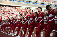 Arkansas cheerleaders, Saturday, September 11, 2021 during a football game at Reynolds Razorback Stadium in Fayetteville. Check out nwaonline.com/210912Daily/ for today's photo gallery. <br /> (NWA Democrat-Gazette/Charlie Kaijo)