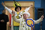 © Joel Goodman - 07973 332324 . 23/02/2017 . Stoke-on-Trent , UK . The Monster Raving Looney Party arrive at to the count in the by-election for the constituency of Stoke-on-Trent Central , at Fenton Manor Sports Complex . Photo credit : Joel Goodman