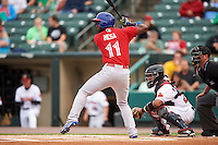 Buffalo Bisons outfielder Melky Mesa (11) at bat during a game against the Rochester Red Wings on July 8, 2015 at Frontier Field in Rochester, New York.  Rochester defeated Buffalo 6-5.  (Mike Janes/Four Seam Images)