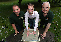 **NO REPRODUCTION FEE**<br /> 16/07/14 Ray McHugh, left and Paddy Rock, organisers of Cong Festival with  Ryan Tubridy pictured  signing his name and making a cast of his hands for the Cong Hands of Fame wall.  Ryan was the first person to make a cast his hands for the Cong Hands of Fame Wall which will be cast in bronze, and feature casts of the hands of  famous people from all walks of life. It will be unveiled in  October in the town of Cong in Mayo.<br /> Picture Colin Keegan, Collins Dublin.<br /> **NO REPRODUCTION FEE**