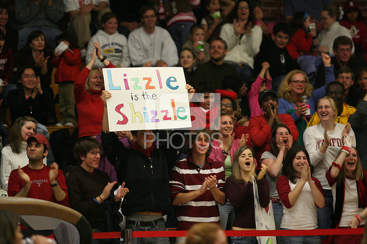 17 February 2006: Fans cheer after Liz Tricase gets a 10 on her high bar performance during Stanford's win over the University of Arizona at Burnham Pavilion in Stanford, CA.