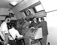 1958-03-01 File photo -<br /> <br /> Dr. von Braun inside the blockhouse during the launch of the Jupiter C/Explorer III in March 1958.<br /> Date of Image: