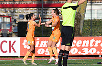 Jolet Lommen (9 Gent) pictured celebrating with teammates after scoring a goal during a female soccer game between Club Brugge Dames YLA and AA Gent Ladies on the sixth matchday of the 2020 - 2021 season of Belgian Scooore Womens Super League , saturday 7 th November 2020  in Knokke , Belgium . PHOTO SPORTPIX.BE | SPP | DAVID CATRY