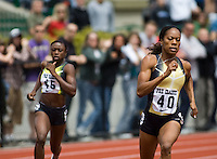 EUGENE, OR--Sanya Richards, right, competes in the 400 meters during the Steve Prefontaine Classic, Hayward Field, Eugene, OR. SUNDAY, JUNE 10, 2007. PHOTO © 2007 DON FERIA