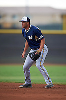 Milwaukee Brewers George Iskenderian (8) during an instructional league game against the San Diego Padres on October 6, 2015 at the Peoria Sports Complex in Peoria, Arizona.  (Mike Janes/Four Seam Images)