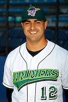 Jamestown Jammers catcher Eddie Rodriguez #12 poses for a photo before a game against the Mahoning Valley Scrappers at Russell E. Diethrick Jr Park on September 2, 2011 in Jamestown, New York.  Mahoning Valley defeated Jamestown 8-4.  (Mike Janes/Four Seam Images)