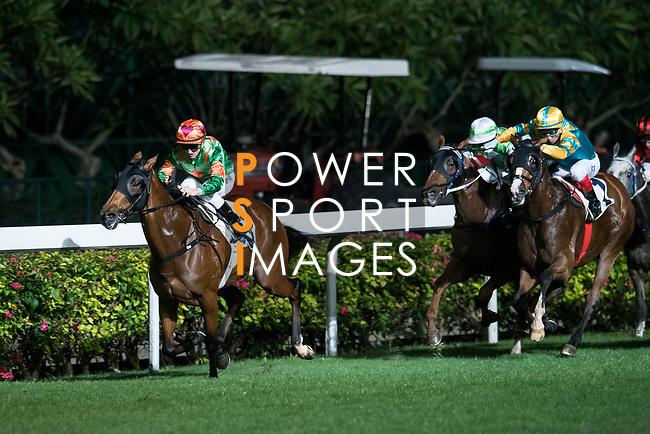 Jockey #3 Zac Purton riding Rule Thee during the race 3 of Hong Kong Racing at Happy Valley Race Course on November 29, 2017 in Hong Kong, Hong Kong. Photo by Marcio Rodrigo Machado / Power Sport Images