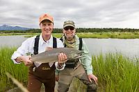 Fly fishing for red salmon on the Brooks River, Katmai National Park, southwest, Alaska.