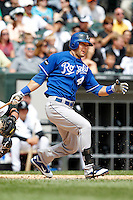 Kansas City Royals outfielder Alex Gordon #4 during a game against the Chicago White Sox at U.S. Cellular Field on August 14, 2011 in Chicago, Illinois.  Chicago defeated Kansas City 6-2.  (Mike Janes/Four Seam Images)