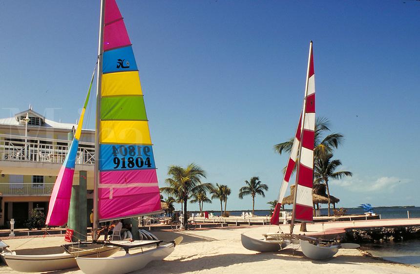 Colorful sailboats on the beach. sailboat, boat, boats. Florida, Florida Keys.