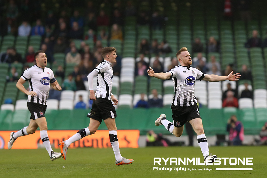 Sean Hoare of Dundalk celebrates after scoring the first goal of the game during the Irish Daily Mail FAI Cup Final between Dundalk and Cork City, on Sunday 4th November 2018, at the Aviva Stadium, Dublin. Mandatory Credit: Michael P Ryan.