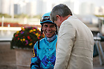 Joel Rosario after winning the Davona Dale (G2)  on Live Lively at Gulfstream Park. Hallandale Beach Florida. 02-23-2013