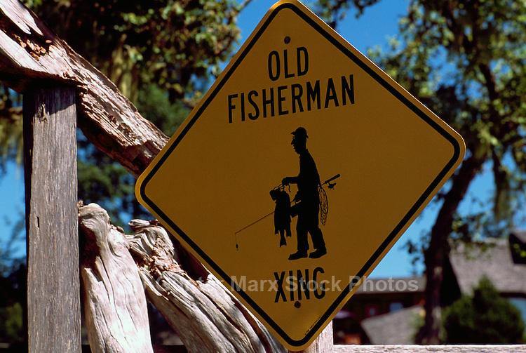Near Sointula, Malcolm Island, BC, British Columbia, Canada - Old Fisherman Crossing Road Sign