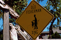 Near Sointula, Malcolm Island, BC, British Columbia, Canada - Old Fisherman Crossing Road Sign