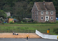 Sep 13, 2019; Mohnton, PA, USA; NHRA pro stock motorcycle rider Ronald Tornow crashes into the sand trap during qualifying for the Reading Nationals at Maple Grove Raceway. Torn would be uninjured in the crash. Mandatory Credit: Mark J. Rebilas-USA TODAY Sports