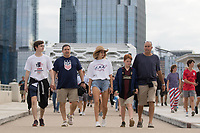 NASHVILLE, TN - SEPTEMBER 5: USA Fans walk to the stadium before a game between Canada and USMNT at Nissan Stadium on September 5, 2021 in Nashville, Tennessee.