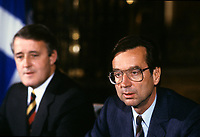 Montreal (QC)CANADA - Dec 13 1985 File Photo<br /> Canadian Prime Minister Brian Mulroney (L) press conference with<br /> Liberal Provincial Leader Robert Bourassa