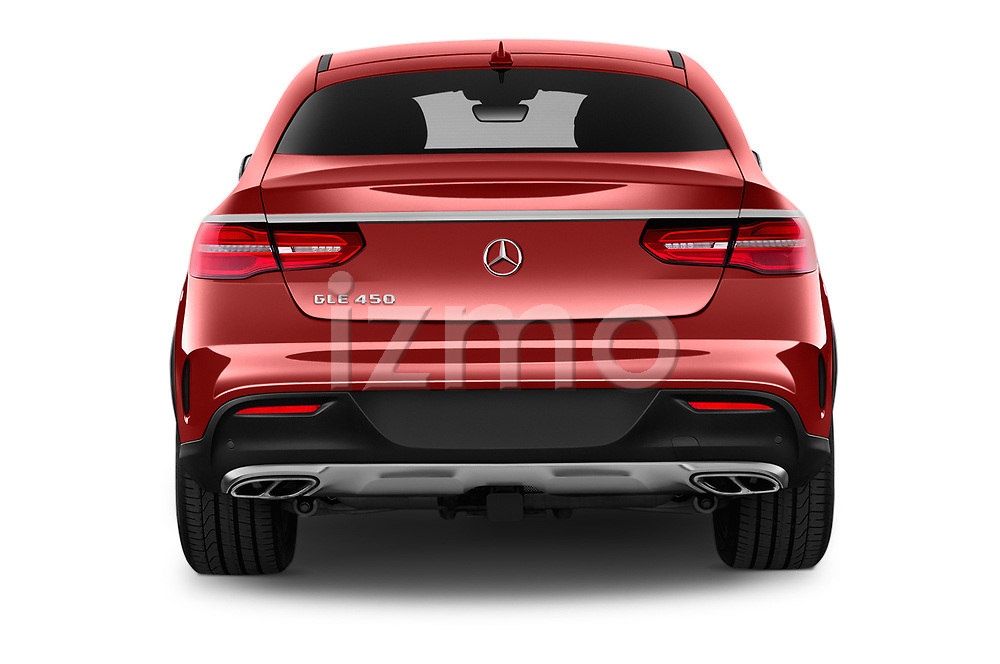 Straight rear view of 2016 Mercedes Benz GLE-Class-Coupe GLE450-AMG 5 Door SUV Rear View  stock images