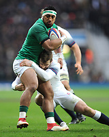 Bundee Aki of Ireland is tackled by Elliot Daly of England  during the NatWest 6 Nations match between England and Ireland at Twickenham Stadium on Saturday 17th March 2018 (Photo by Rob Munro/Stewart Communications)