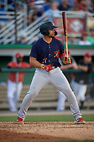 State College Spikes Stanley Espinal (21) at bat during a NY-Penn League game against the Batavia Muckdogs on July 3, 2019 at Dwyer Stadium in Batavia, New York.  State College defeated Batavia 6-4.  (Mike Janes/Four Seam Images)