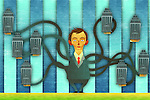Illustrative image of businessman with many hands holding company buildings representing global business leader