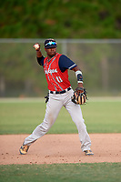 Kendall Logan Simmons (11) while playing for East Cobb Yankees based out of Marietta, Georgia during the WWBA World Championship at the Roger Dean Complex on October 21, 2017 in Jupiter, Florida.  Kendall Logan Simmons is a shortstop / third baseman / pitcher from Macon, Georgia who attends Tattnall Square Academy.  (Mike Janes/Four Seam Images)