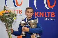 Hilversum, Netherlands, August 13, 2016, National Junior Championships, NJK, Prizegiving, winner boy's single 12 years : Daniel Verbeek <br /> Photo: Tennisimages/Henk Koster
