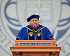 """May 17, 2015; Aaron Neville, a four-time Grammy Award winning singer and musician sings the """"Ave Maria"""" after being awarded the Laetare Medal at the 2015 Commencement ceremony in Notre Dame Stadium. (Photo by Barbara Johnston/University of Notre Dame)"""