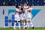 v.li.: Orel Mangala (VfB, 23), Marc Oliver Kempf (VfB, 4), Borna Sosa (VfB, 24), Sasa Kalajdzic (VfB, 9), Mateo Klimowicz (VfB, 31), Spieler vom VfB Stuttgart, jubeln über das Tor zum 3:3, Jubel, Torjubel, Torerfolg, celebrate the goal, goal, celebration, Jubel ueber das Tor, optimistisch, Spielszene, Highlight, Action, Aktion, 21.11.2020, Sinsheim  (Deutschland), Fussball, Bundesliga, TSG 1899 Hoffenheim - VfB Stuttgart, DFB/DFL REGULATIONS PROHIBIT ANY USE OF PHOTOGRAPHS AS IMAGE SEQUENCES AND/OR QUASI-VIDEO. <br /> <br /> Foto © PIX-Sportfotos *** Foto ist honorarpflichtig! *** Auf Anfrage in hoeherer Qualitaet/Aufloesung. Belegexemplar erbeten. Veroeffentlichung ausschliesslich fuer journalistisch-publizistische Zwecke. For editorial use only.