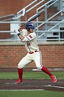 Keegan Sueltz (14) of the Dayton Flyers at bat against the Campbell Camels at Jim Perry Stadium on February 28, 2021 in Buies Creek, North Carolina. The Camels defeated the Flyers 11-2. (Brian Westerholt/Four Seam Images)