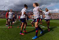 EAST HARTFORD, CT - JULY 5: Carli Lloyd #10 and Samantha Mewis #3 of the USWNT warm up during a game between Mexico and USWNT at Rentschler Field on July 5, 2021 in East Hartford, Connecticut.