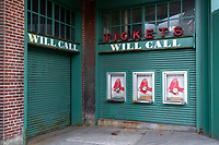 The Will Call booth is seen closed at Fenway Park in Boston, Massachusetts, on Wed., Jan. 6, 2021.