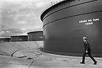 Security guard at Sullom Voe 1979 Shetland Islands. Scotland oil industry site for BP British Petroleum. North Sea oil. 1970s