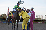 Jockey Luis Saez, Wildcat Red and connections after winning the Fountain of Youth(G2) at Gulfstream Park, Hallandale Beach Florida. 02-22-2014
