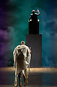 """London, UK. 12.10.2021. English National Opera presents Philip Glass's """"Satyagraha"""" at the London Coliseum.  This production is directed by Phelim McDermott with Peter Relton as revival director, set design by Julian Crouch, costume design by Kevin Pollard, and lighting design by Paule Constable, with revival lighting direction by Kevin Sleep. Revival movement direction and puppetry are by Rob Thirtle, with video design by 59 Productions. Carolyn Kuan makes her ENO debut, as conductor. The cast is: Sean Panikkar (M K Gandhi), Musa Ngqungwana (Lord Krishna), William Thomas (Parsi Rustomji), Sarah Pring (Mrs Alexander), Verity Wingate (Mrs Naidoo), Felicity Buckland (Kasturbai), Gabriella Cassidy ( Miss Schlesen), James Cleverton (Mr Kallenbach), Ross Ramgobin (Prince Arjuna). Picture shows: Sean Panikkar (M K Gandhi). Photograph © Jane Hobson."""