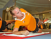 Moskou, Russia, Februari 4, 2016,  Fed Cup Russia-Netherlands,  Dutch team in the fitness,  Richel Hogenkamp <br /> Photo: Tennisimages/Henk Koster