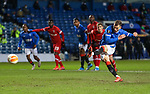 25.02.2021 Rangers v Royal Antwerp: Borna Barisic scores from the penalty spot