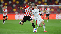 Marcus Forss of Brentford tries to shake off a challenge from Rotherham's Ben Wiles during Brentford vs Rotherham United, Sky Bet EFL Championship Football at the Brentford Community Stadium on 27th April 2021