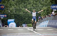 Taco van der Hoorn (NED/Intermarché - Wanty - Gobert) manages to (just) stear clear from the oncoming peloton and wins stage 3 from the early breakaway<br /> <br /> 104th Giro d'Italia 2021 (2.UWT)<br /> Stage 3 from Biella to Canale (190km)<br /> <br /> ©kramon