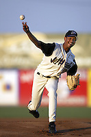 Beltran Perez of the Lancaster JetHawks pitches during a California League 2002 season game at The Hanger, in Lancaster, California. (Larry Goren/Four Seam Images)