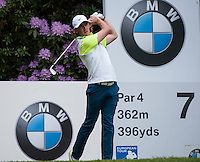 23.05.2015. Wentworth, England. BMW PGA Golf Championship. Round 3.  Tommy Fleetwood [ENG] tee shot 7th hole during the third round of the 2015 BMW PGA Championship from The West Course Wentworth Golf Club