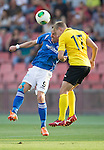 Alashkert FC v St Johnstone...02.07.15   Republican Stadium, Yerevan, Armenia....UEFA Europa League Qualifier.<br /> Steven Maclean battles with Siarhei Usenia<br /> Picture by Graeme Hart.<br /> Copyright Perthshire Picture Agency<br /> Tel: 01738 623350  Mobile: 07990 594431