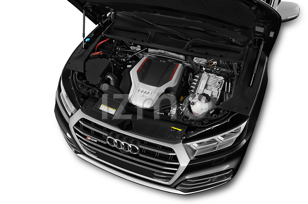 Car stock 2018 Audi SQ5 Base 5 Door SUV engine high angle detail view