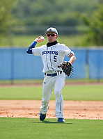 IMG Academy Ascenders Navy third baseman Joshua Wolff (5) during a game against Victory Charter School on April 1, 2021 at IMG Academy in Bradenton, Florida.  (Mike Janes/Four Seam Images)