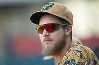 Charles Leblanc (33) of the Down East Wood Ducks during the game against the Winston-Salem Dash at BB&T Ballpark on May 12, 2018 in Winston-Salem, North Carolina. The Wood Ducks defeated the Dash 7-5. (Brian Westerholt/Four Seam Images)